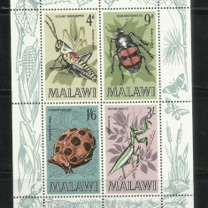 F1 - INSECTE MALAWI - BLOC NESTAMPILAT - Timbre straine