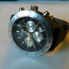 Ceas barbatesc ROTARY Chronograph doua nuante ORIGINAL!, Elegant, Quartz, Inox, Piele, Cronograf