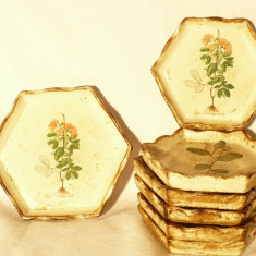 Set Suporti pahare din lemn cu motive florale - Germania - Strae foarte buna