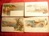 Set 4 Litografii Velten -Nurenberg , inc.sec.XX -Orase : Nice , Monaco Beaulieu, Necirculata, Printata