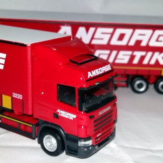 Herpa SCANIA Topline R09 road train prelata Ansorge logistik 1:87 - Macheta auto