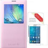 Samsung Galaxy A5 husa flip cover cu s view activ si logo pe ambele parti, roz - Husa Telefon Samsung, Auriu