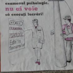 Vintage - Afis protectia muncii - grafica deosebita!!! - Reclama Tiparita