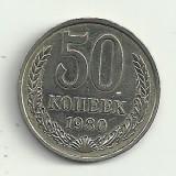 RUSIA URSS  50 KOPEICI COPEICI  1980  [1]  XF+  ,  livrare in cartonas, Europa, Cupru-Nichel