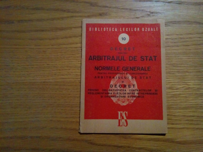 DECRET pentru ARBITRAJUL DE STAT * Normele Generale - Editura de Stat, 1950, 29p