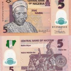 NIGERIA 5 naira 2011 polymer UNC!!! - bancnota africa