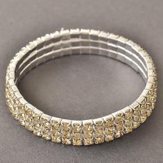 Bratara elastica placata cu aur 14K; lungime reglabila, 1.1 cm latime