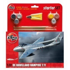 Kit constructie si pictura avion De Havilland Vampire T11 - Set de constructie Airfix