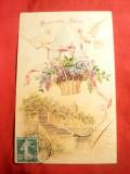 Litografie TCV -Porumbei cu Flori , circ. 1905 , piesa autor Franta, Circulata, Printata