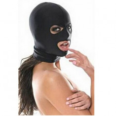 Masca Bondage BDSM Spandex Lycra Hood Restriction Slave Open Mouth Eyes Negru, Marime universala, Rosu