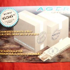 Ilustrata Reclama Firma Ager- Cupon Tombola pt. Calculatoare 1998 - Pliant Meniu Reclama tiparita