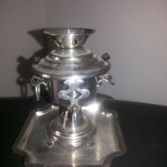 Samovar miniatural, vechi, decorativ din inox - Metal/Fonta