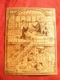 Gravura pe lemn lipit pe carton - Farmacie medievala , dim.= 4,7x10,3 cm