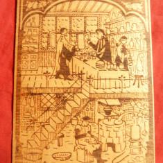 Gravura pe lemn lipit pe carton - Farmacie medievala, dim.= 4, 7x10, 3 cm - Litografie