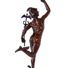 HERMES - STATUETA DIN BRONZ PE SOCLU DIN MARMURA - Sculptura, Religie