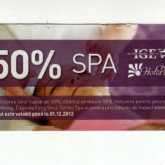 TICHET COLECTIE  CUPON REDUCERE 50% SPA HOTEL PERLA  BAILE 1 MAI , 2012