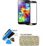 Sticla display fata pentru Samsung Galaxy S4 negru + kit scule si folie adeziv