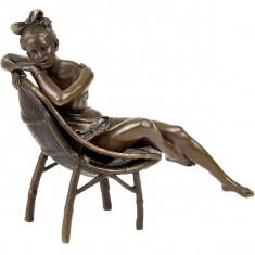 FATA PE PLAJA - STATUETA DIN BRONZ PE SOCLU DIN MARMURA - Sculptura, Nuduri