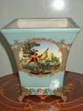 Superba vaza franceza din majolica pictata manual si bronz
