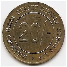 Jeton - 20 % Williams Bros - Direst Supply Stores LTD. - Jetoane numismatica