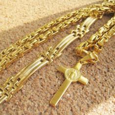 Lant +medalion +bratara INOX placat = 80 ron - Lantisor placate cu aur