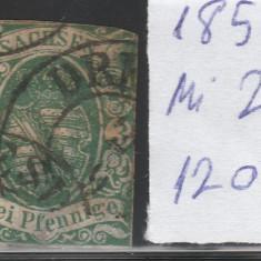 Sachsen - State Germane 1851, Mi nr 2 - stampilat, Germania