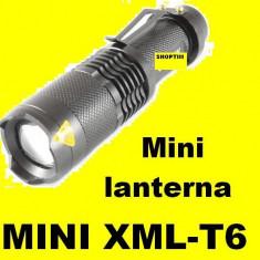 Lanterna LED CREE XML T6 ZOOM 10000W LUPA 5 Faze acumulator 3, 7 V inc auto si ap