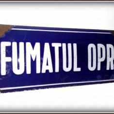 Placa veche de tabla emailata/email/portelanata- avertizare FUMATUL OPRIT