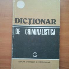 DICTIONAR DE CRIMINALISTICA - COLECTIV ( 2844 ) - Carte Jurisprudenta
