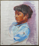 Portret de negresa - semnat monogramic  HP, Portrete, Guasa, Altul
