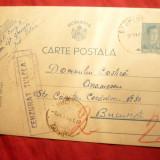 Carte Postala circulata Sf.Gheorghe-Bucuresti, Cenzura 1941, stamp.Minister Aer - Carte Postala Muntenia dupa 1918, Printata