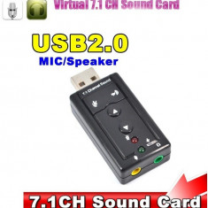 Placa de sunet / audio 7.1 CH externa 3D sound conectare USB - Placa de sunet laptop