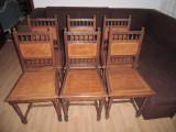 Set de 6 scaune living, bucatarie  HENRI AL- II -LEA, 1900 - 1949