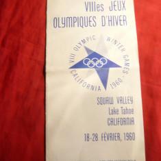 Brosura cu oferte cazare in Satul Olimpic de Iarna California 1960, cu2 harti - Reclama Tiparita