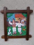 TABLOU - PICTURA NAIVA PE PLACAJ, Scene gen, Ulei, Altul