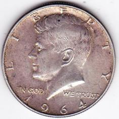 SUA USA 50 centi HALF DOLLAR- Kennedy 1964 Argint 12.5grame 900/1000 SUPERBA, Europa