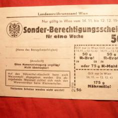 Cartela de Hrana - Viena -Imperiul German 1943