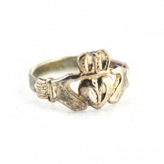 Inel argint vechi model irlandez Claddagh simbolistica celtica logodna prietenie - Inel barbati, 57 - 67