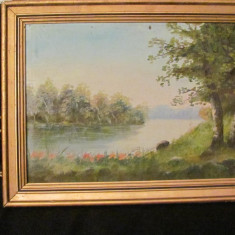"PVM - ""Peisaj cu Lac"" tablou vechi ulei pe panza nesemnat si nedatat, Peisaje, Realism"