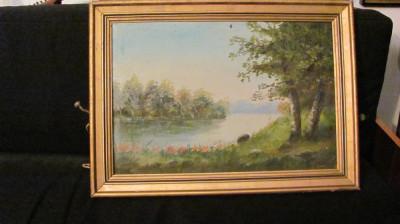 """PVM - """"Peisaj cu Lac"""" tablou vechi ulei pe panza nesemnat si nedatat foto"""