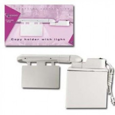Suport hartie cu lumina, din plastic, cu iluminare si intrerupator, Alb, GEMBIRD (CH-397 W LIGHT)