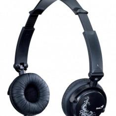 Casti stereo cu microfon, pliabile, control volum pe fir, Genius HS-410F, Black (31710050101), Casti On Ear, Cu fir, Mufa 3, 5mm