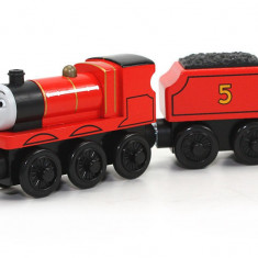 Locomotiva James, colectia Thomas si prietenii sai, Fisher Price - Trenulet Fisher Price, 4-6 ani, Lemn, Unisex