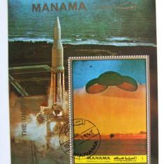 Manama, spatiu, sateliti, bloc stampilat - Timbre straine
