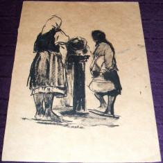 Femei la izvor - Tus anii 60, grafica ilustratie de carte - Tablou autor neidentificat, An: 1960, Portrete, Cerneala, Impresionism