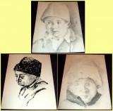 Ciobanas - Set 3 schite in tus si carbune anii 60, grafica ilustratii de carte