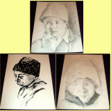 Ciobanas - Set 3 schite in tus si carbune anii 60, grafica ilustratii de carte - Tablou autor neidentificat, An: 1960, Portrete, Impresionism