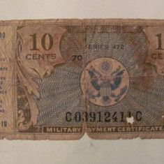 CY - 10 cents centi 1948 USA SUA Military Payment Certificate - bancnota america