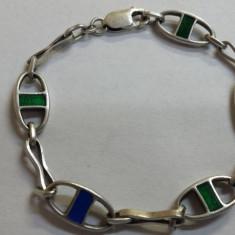 Veche Bratara argint cu email verde si albastru vintage Superba si de Efect