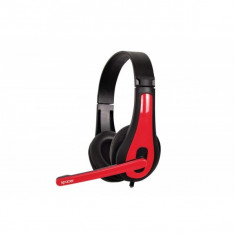 Casti cu microfon SPACER SPK-507, black-red - Casca PC